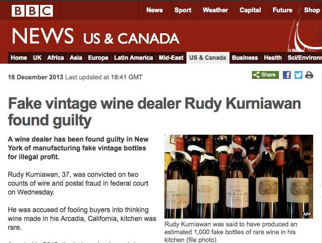 Counterfeiting of fine wines - An article from BBC